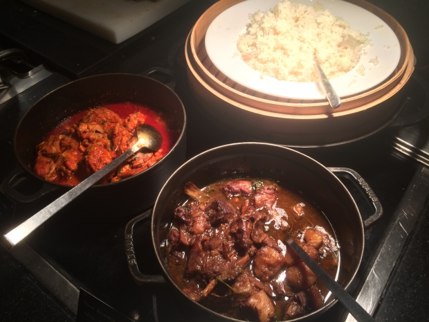 Jasmine rice, Chicken in red chilli curry and slow braised Duck and potatoes.